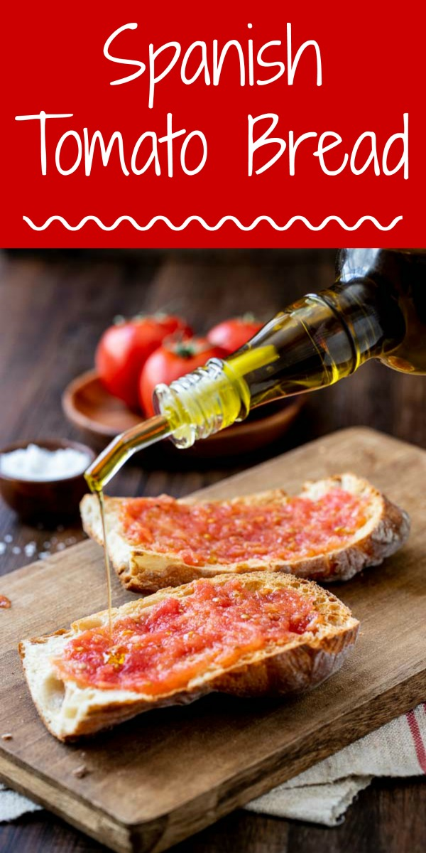 This Spanish tomato bread recipe, or Pan Con Tomate is summer tomatoes BFF!!! Serve for breakfast with eggs, lunch, dinner or as an appetizer! #tomatoes #appetizer #bread