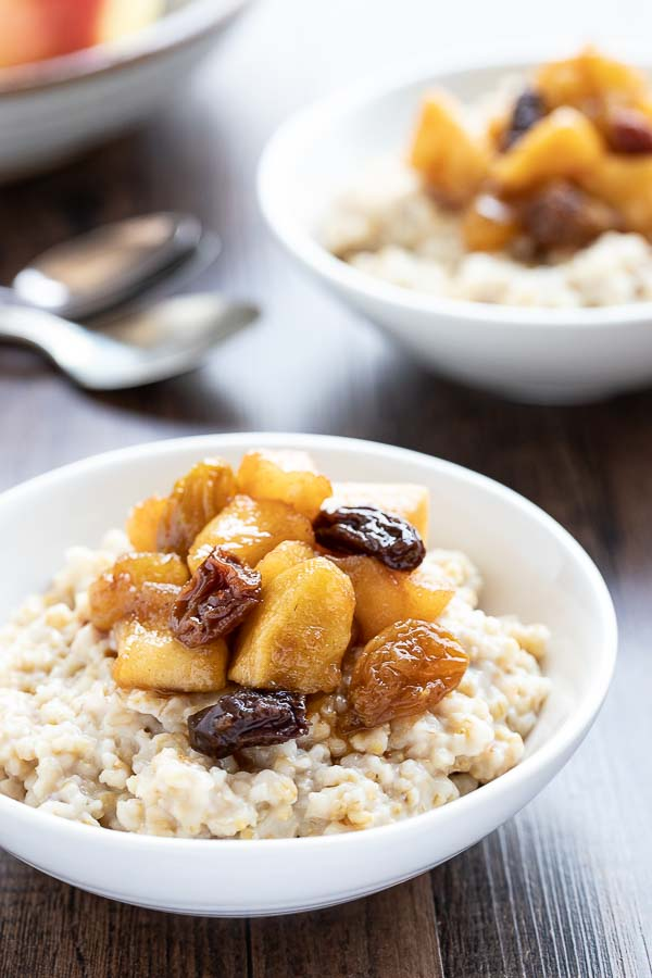 instant pot steel cut oats recipe with apple compote.