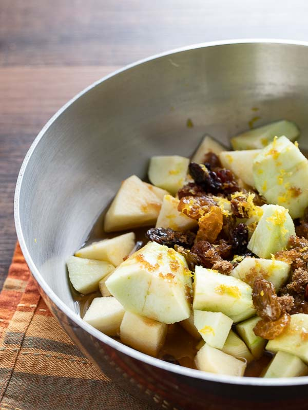 saucepan with apple compote ingredients for the instant pot steel cut oats recipe