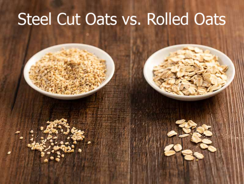 steel cut oats vs rolled oats in bowls showing the different grains