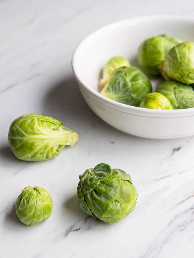 bowl with brussels sprouts on a counter