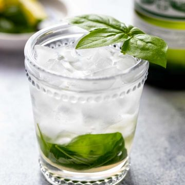 Single glass of Vermouth on the rocks with a basil leaf garnish.