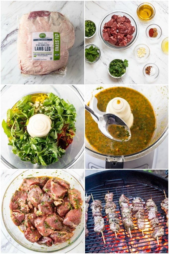 Step by step instructions of how to make lamb skewers with chermoula sauce