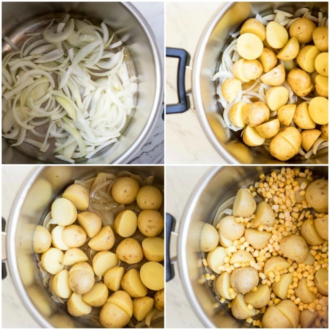 Step by step photos for making French Potato Salad