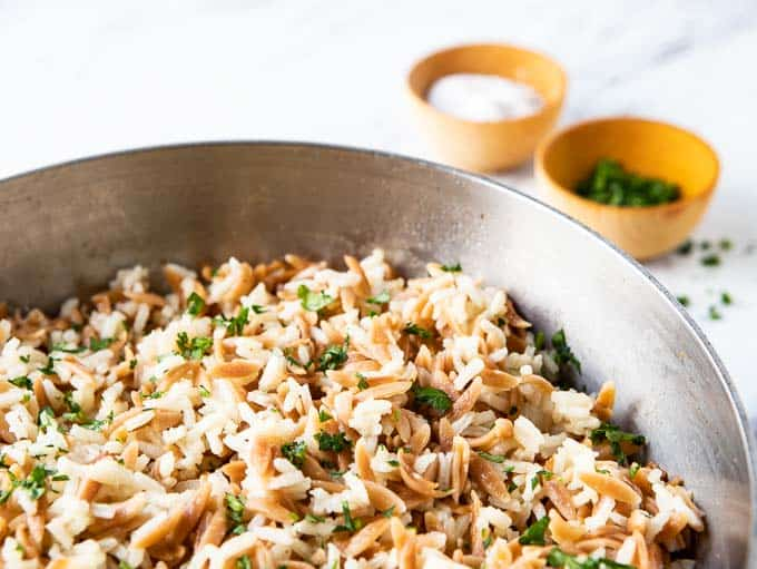 Close up of Rice Pilaf with Orzo in a saucepan.