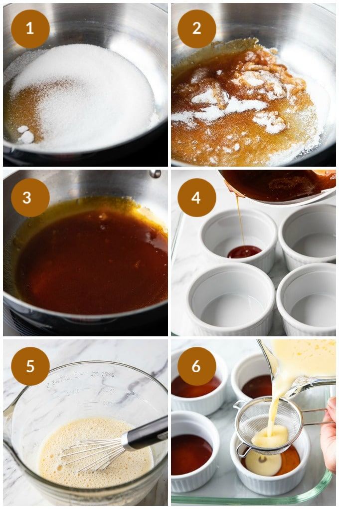 Step by step photos of how to make this easy flan recipe with milk.