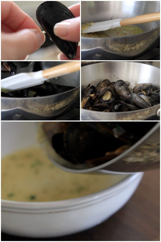 Step by step photos of how to steam mussels