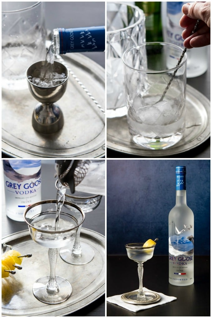 Step by step photos of how to make a vodka martini.