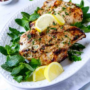platter of yogurt marinated grilled chicken.
