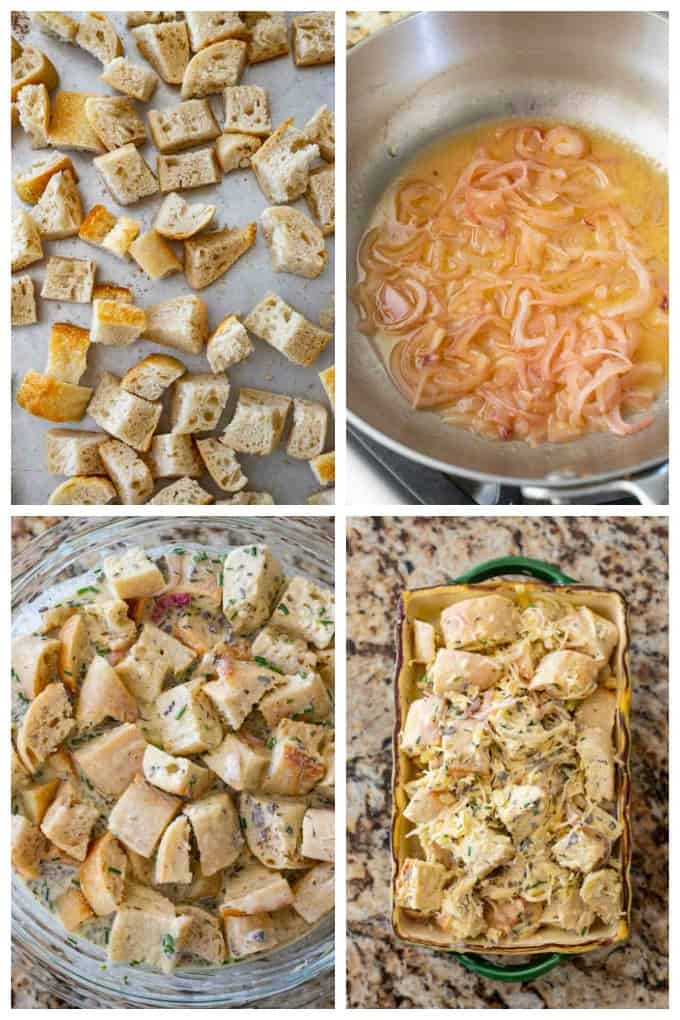 Step by step photos of how to make savory bread pudding recipe.