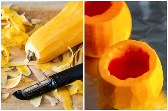 How to peel and cut squash for stuffed butternut squash recipe.