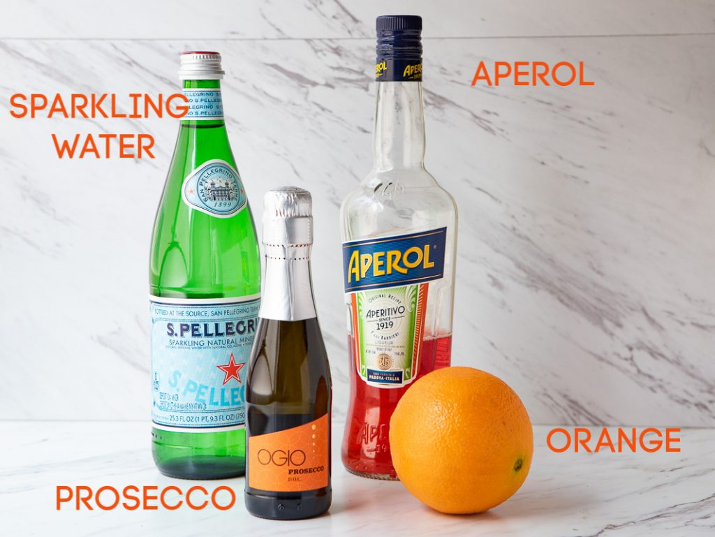 Ingredients to make an aperol spritz