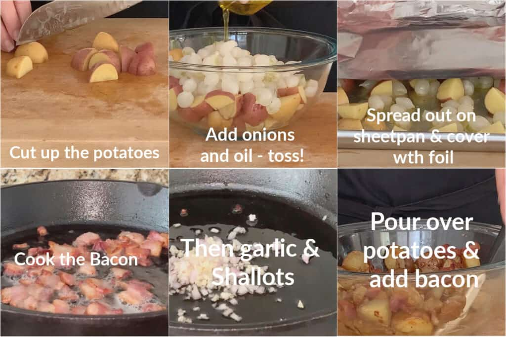 Step by step photos of how to make this baby potato recipe.