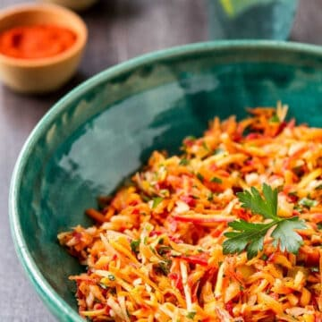 Moroccan Carrot Salad in a bowl.